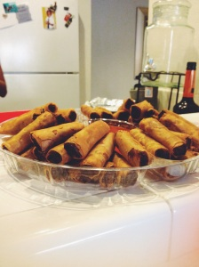 You can always count on a batch of lumpia ( a Philippine dish) to liven up a party!