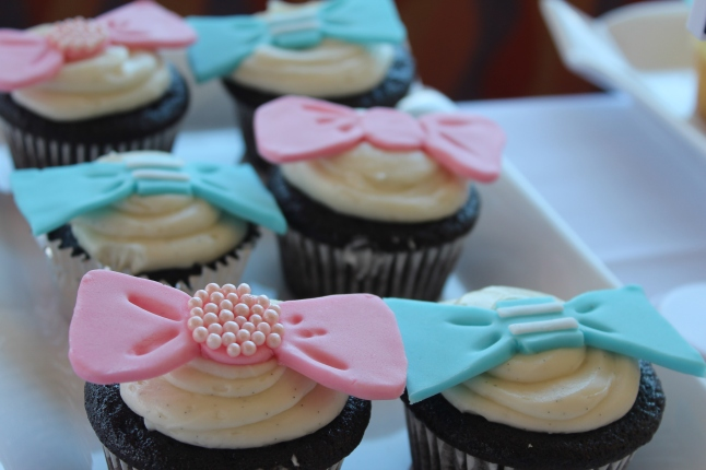 My baker Adah made the most incredible cupcakes! She even made the cute bows and bow ties from scratch!